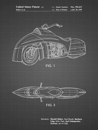 PP1015-Black Grid Robin Motorcycle Patent Poster