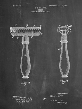 PP1026-Chalkboard Safety Razor Patent Poster