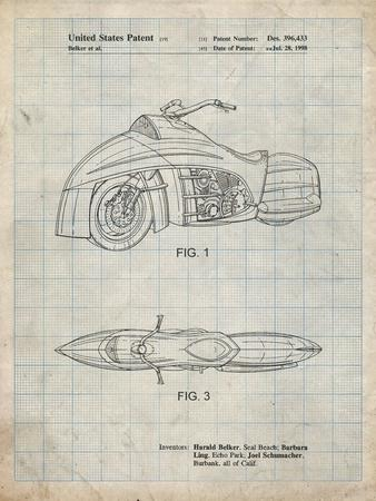 PP1015-Antique Grid Parchment Robin Motorcycle Patent Poster