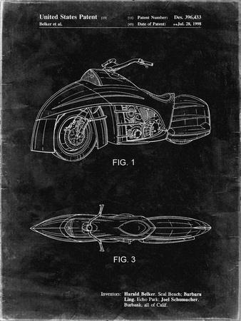PP1015-Black Grunge Robin Motorcycle Patent Poster