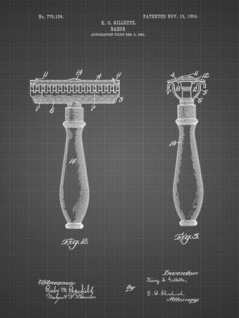 PP1026-Black Grid Safety Razor Patent Poster