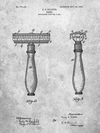 PP1026-Slate Safety Razor Patent Poster