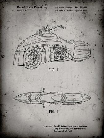 PP1015-Faded Grey Robin Motorcycle Patent Poster