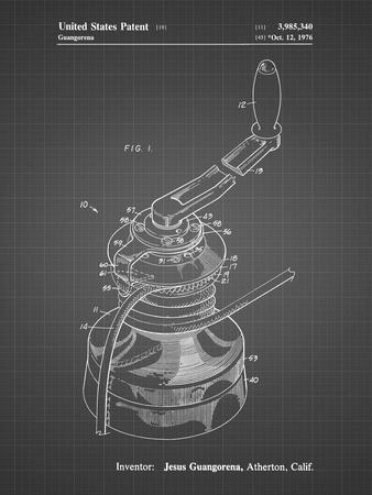 PP1027-Black Grid Sailboat Winch Patent Poster