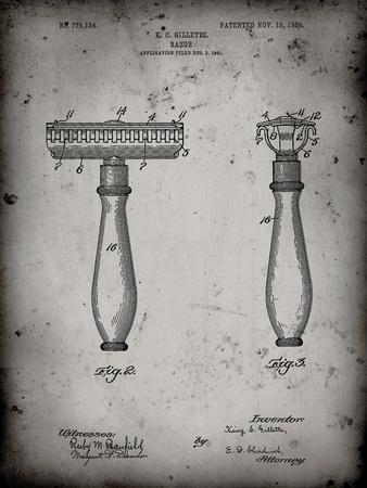 PP1026-Faded Grey Safety Razor Patent Poster