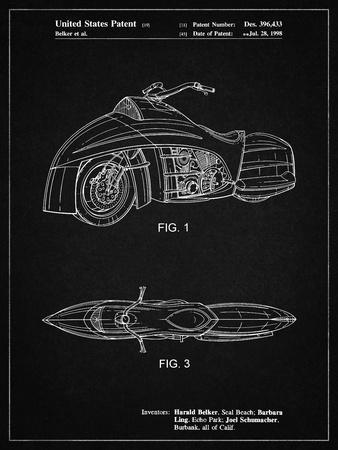 PP1015-Vintage Black Robin Motorcycle Patent Poster