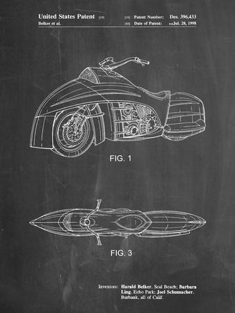PP1015-Chalkboard Robin Motorcycle Patent Poster
