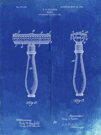 PP1026-Faded Blueprint Safety Razor Patent Poster