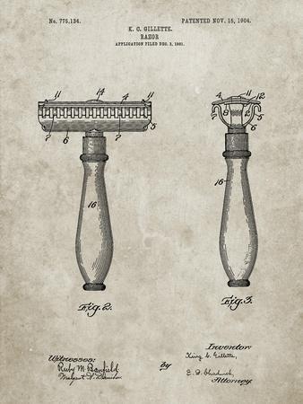 PP1026-Sandstone Safety Razor Patent Poster