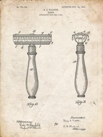 PP1026-Vintage Parchment Safety Razor Patent Poster