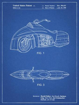 PP1015-Blueprint Robin Motorcycle Patent Poster