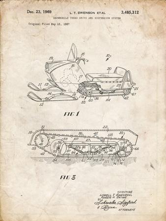 PP1046-Vintage Parchment Snow Mobile Patent Poster