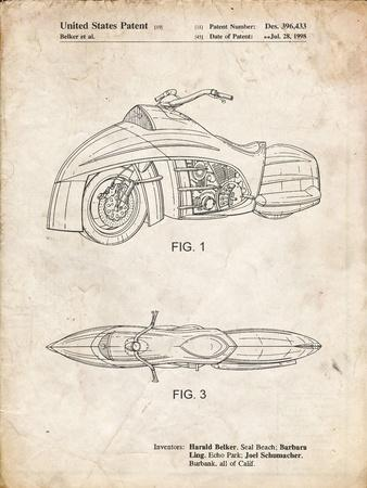 PP1015-Vintage Parchment Robin Motorcycle Patent Poster