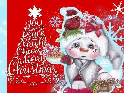 Cardinal Christmas Pal - Snowman - Tree Greeting