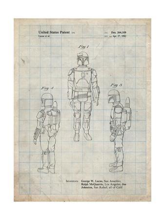 PP1055-Antique Grid Parchment Star Wars Boba Fett Patent Poster
