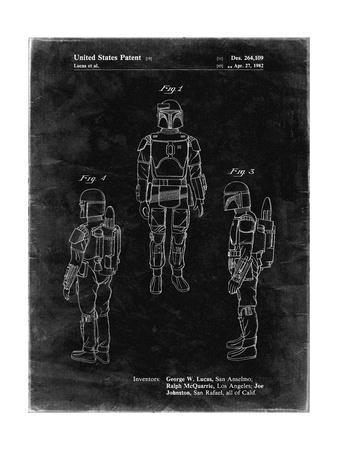 PP1055-Black Grunge Star Wars Boba Fett Patent Poster