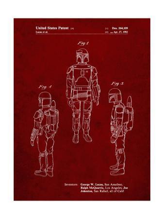 PP1055-Burgundy Star Wars Boba Fett Patent Poster