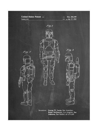 PP1055-Chalkboard Star Wars Boba Fett Patent Poster