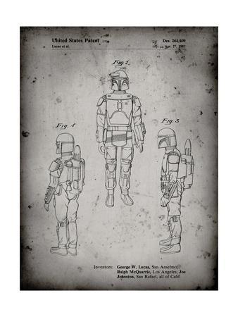 PP1055-Faded Grey Star Wars Boba Fett Patent Poster