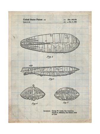PP1056-Antique Grid Parchment Star Wars Rebel Transport Patent Poster