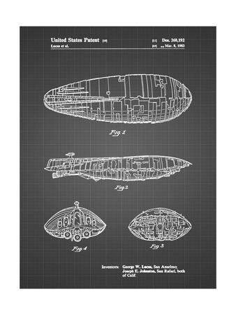 PP1056-Black Grid Star Wars Rebel Transport Patent Poster