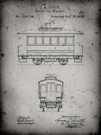 PP1069-Faded Grey Streetcar Patent Poster