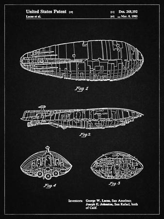 PP1056-Vintage Black Star Wars Rebel Transport Patent Poster