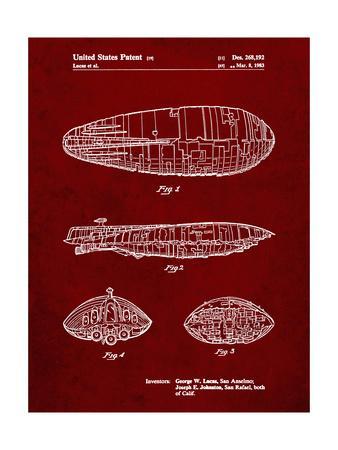 PP1056-Burgundy Star Wars Rebel Transport Patent Poster