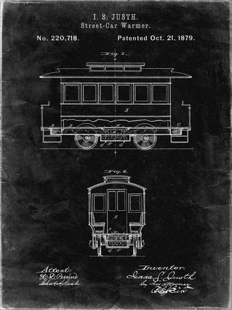 PP1069-Black Grunge Streetcar Patent Poster