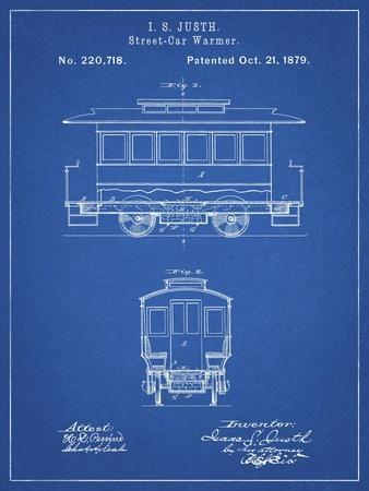 PP1069-Blueprint Streetcar Patent Poster