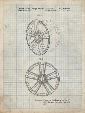 PP1091-Antique Grid Parchment Tesla Car Wheels Patent Poster