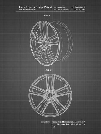 PP1091-Black Grid Tesla Car Wheels Patent Poster