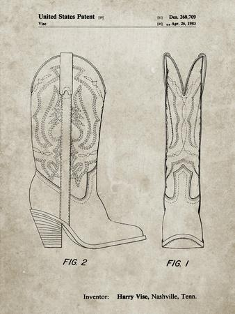 PP1098-Sandstone Texas Boot Company 1983 Cowboy Boots Patent Poster