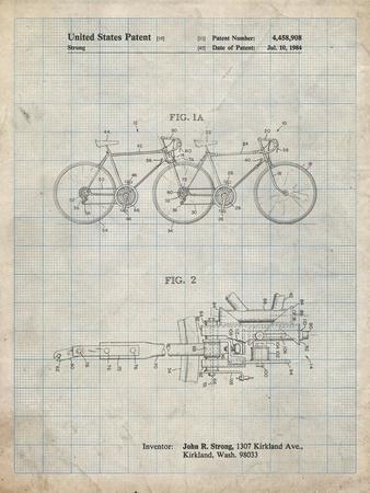 PP1084-Antique Grid Parchment Tandem Bicycle Patent Poster