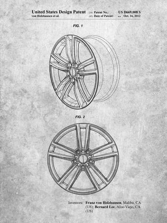 PP1091-Slate Tesla Car Wheels Patent Poster