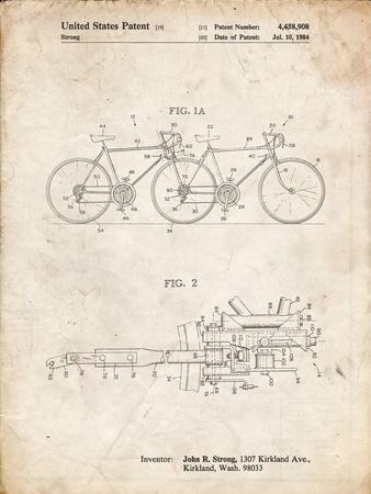 PP1084-Vintage Parchment Tandem Bicycle Patent Poster