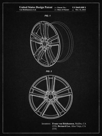PP1091-Vintage Black Tesla Car Wheels Patent Poster