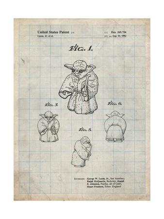 PP1061-Antique Grid Parchment Star Wars Yoda Full Image Patent Poster