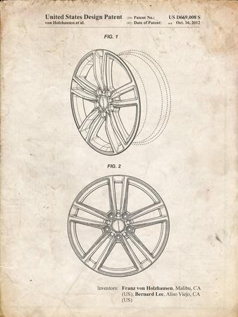 PP1091-Vintage Parchment Tesla Car Wheels Patent Poster