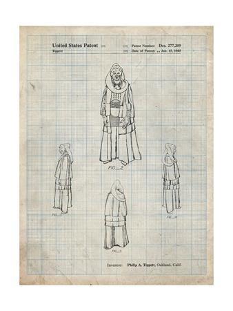 PP1054-Antique Grid Parchment Star Wars Bib Fortuna Patent Poster