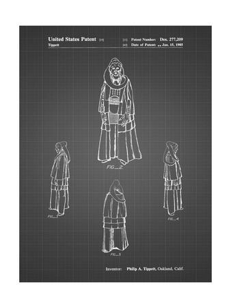 PP1054-Black Grid Star Wars Bib Fortuna Patent Poster