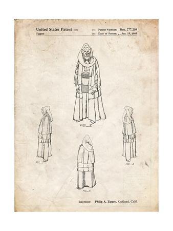 PP1054-Vintage Parchment Star Wars Bib Fortuna Patent Poster
