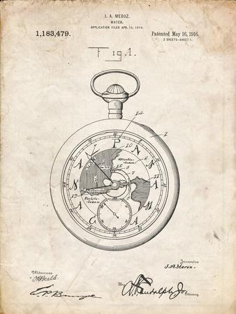 PP112-Vintage Parchment U.S. Watch Co. Pocket Watch Patent Poster