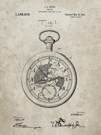 PP112-Sandstone U.S. Watch Co. Pocket Watch Patent Poster