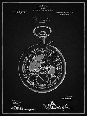 PP112-Vintage Black U.S. Watch Co. Pocket Watch Patent Poster
