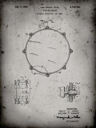 PP105-Faded Grey Drum Key Holder Patent Poster