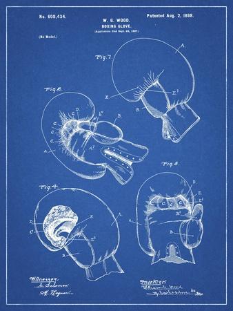 PP58-Blueprint Vintage Boxing Glove 1898 Patent Poster
