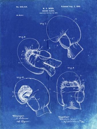 PP58-Faded Blueprint Vintage Boxing Glove 1898 Patent Poster