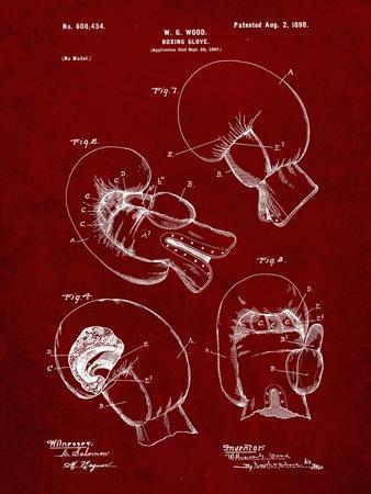 PP58-Burgundy Vintage Boxing Glove 1898 Patent Poster