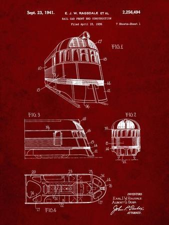 PP1141-Burgundy Zephyr Train Patent Poster